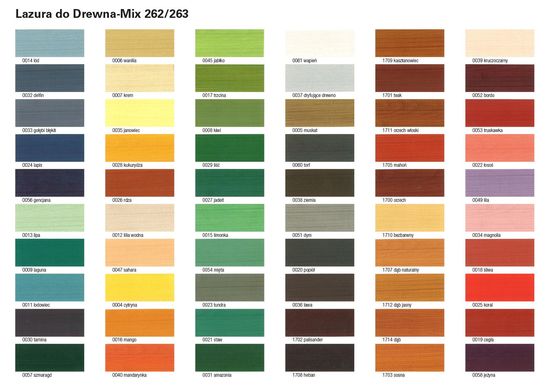 paleta kolorów - lazura do drewna